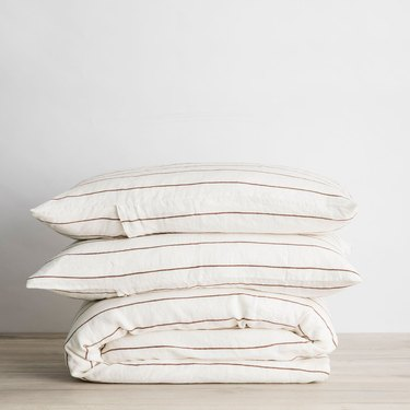 Cultiver Linen Duvet Cover Set - Cedar Stripe (Queen), $325