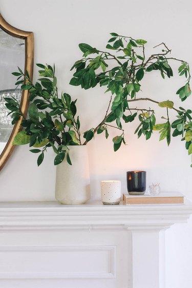 DIY soy wax essential oil candles on mantel