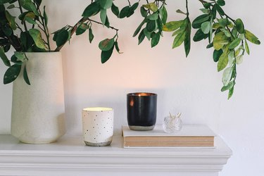 DIY soy wax essential oil candles on mantel