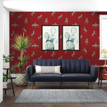 Zebras in Love - Love Red wallpaper from Novogratz