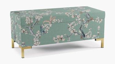 green cherry blossom print upholstered bedroom storage bench
