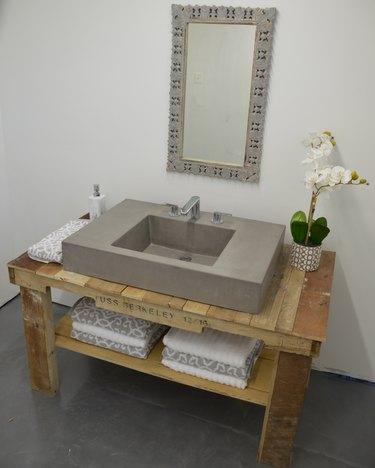 concrete industrial bathroom sink