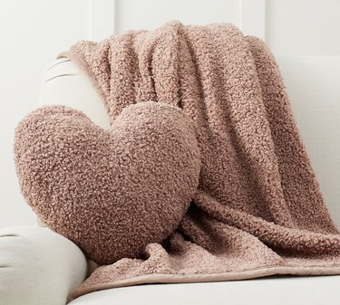 fuzzy heart pillow and blanket set