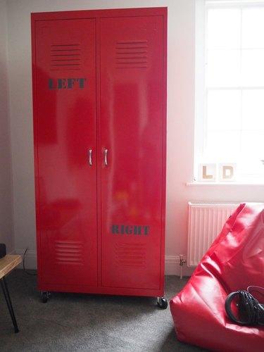 dress up storage red locker industrial closet