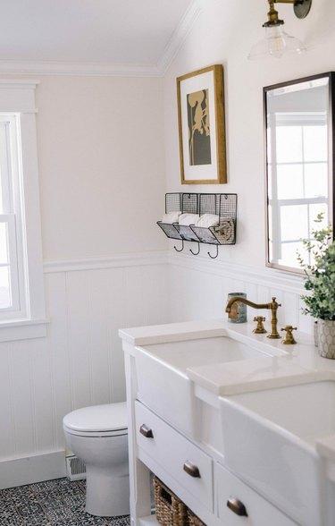 modern farmhouse bathroom with double apron-front Farmhouse Bathroom Sinks