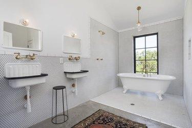 modern farmhouse bathroom with double trough Farmhouse Bathroom Sinks