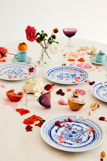 Clare Crespo Blue Tiger Plates, $335