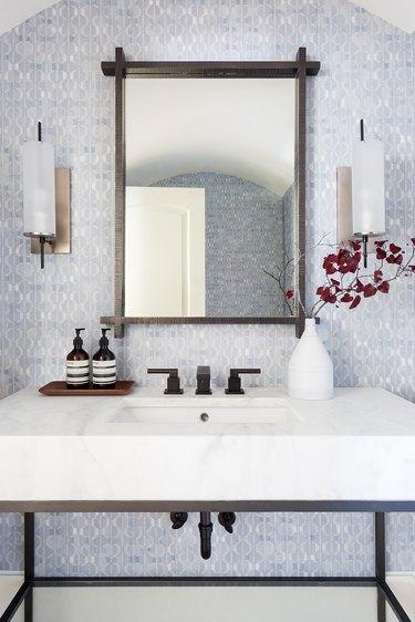 Matte Black Bathroom Faucet marble countertop