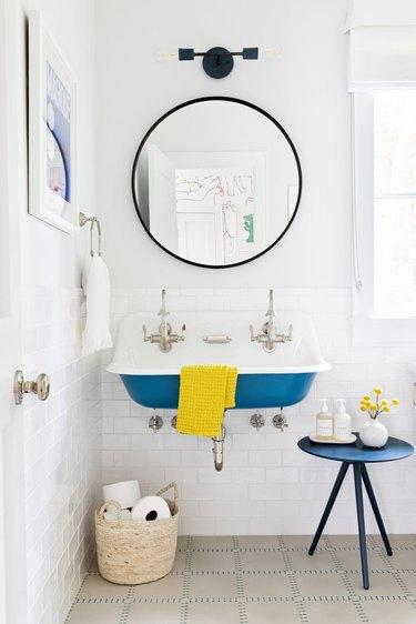 white bathroom with blue Farmhouse Bathroom Sink