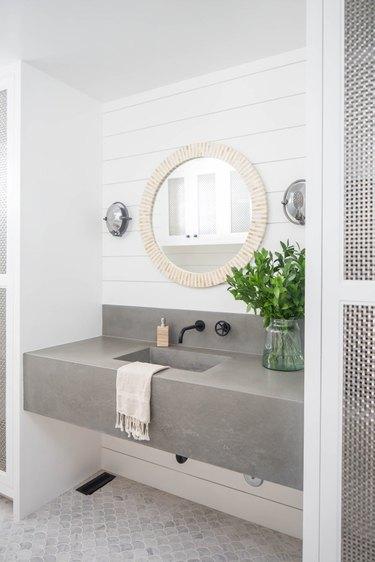 Matte Black Bathroom Faucet concrete backsplash