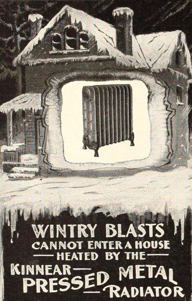 an Advertisement for Kinnear pressed metal radiators