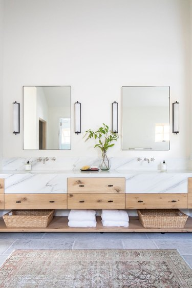 Bathroom designed by Studio McGee with chrome faucet