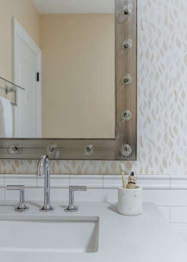 Chrome Faucet In Your Bathroom designed by Michelle Lisac Interior Design with chrome faucet