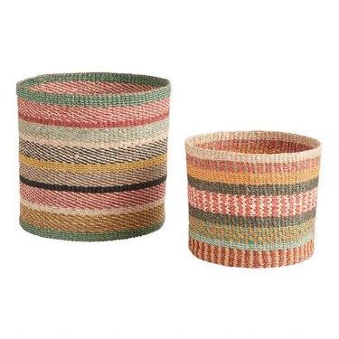 World Market Multicolor Stripe Aria Basket