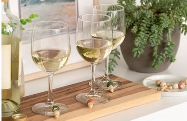Wine charms on wine glasses