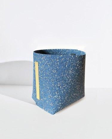 Slash Objects Rubber and Brass Bin in blue