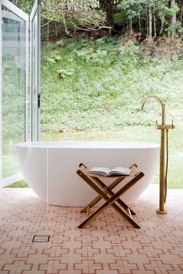Brass Bathroom Faucet in freestanding bath with brass bath mixer