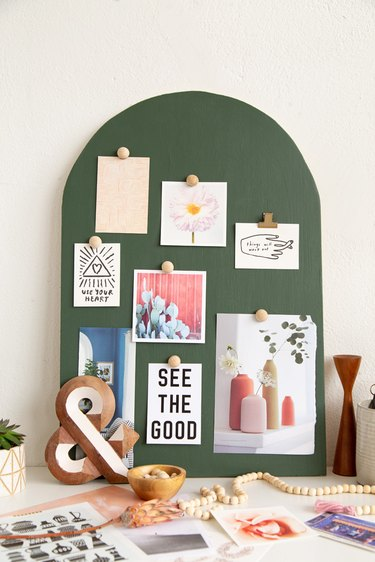 Green DIY Arched Wood Mood Board with magnetic paint