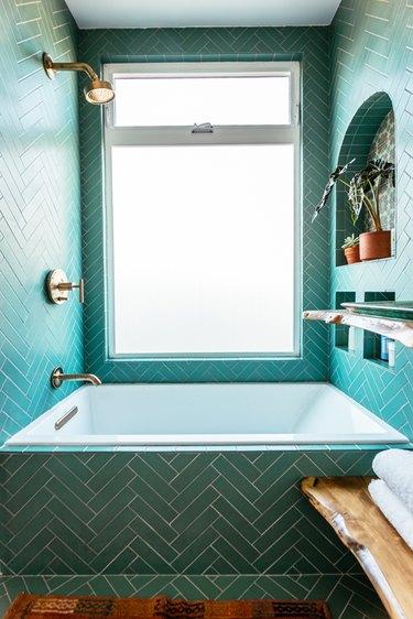 bohemian shower idea with chevron tile in aqua color