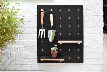 outdoor garden tool organizer painted black