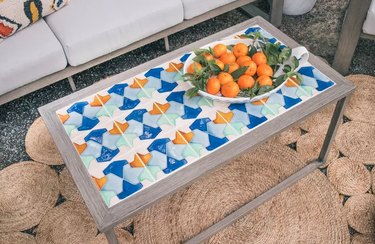 Tile and wood outdoor table