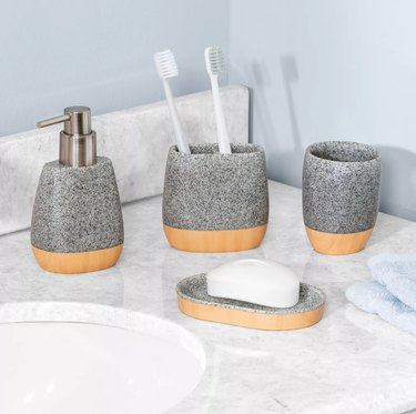 Honey Can Do 4-Piece Speckled Bathroom Set