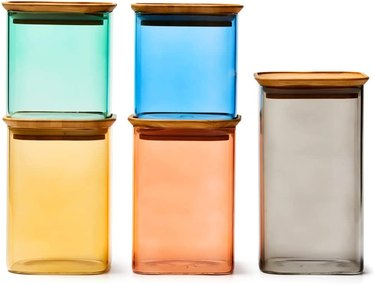 colorful glass jars with lids