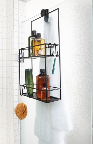 best shower caddyies shower doors, tile, soaps, shampoos, loofah.