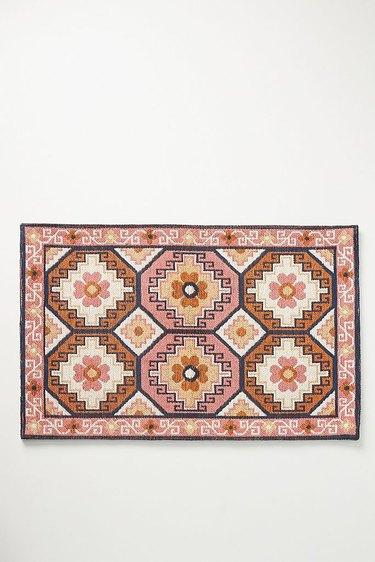 Anthropologie pink patterned bath mat