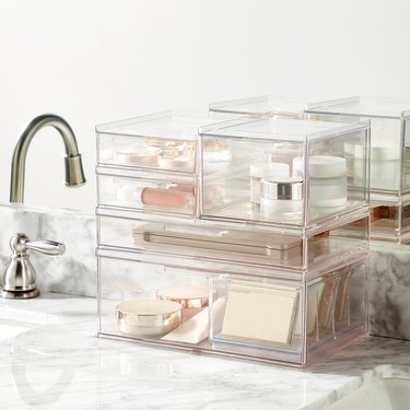 clear vanity stacking drawers