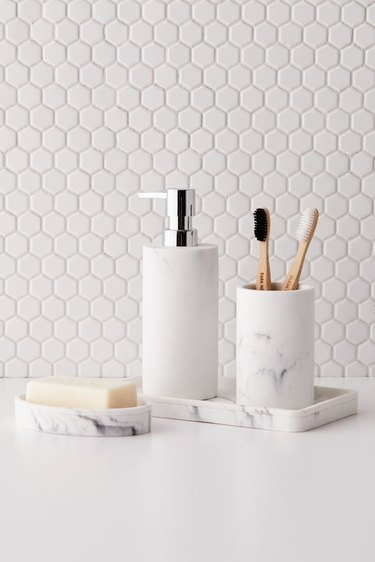 Faux Marble Bathroom Organizer Set