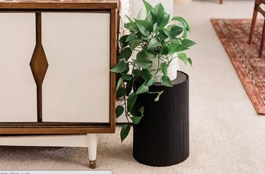 Black ribbed side table