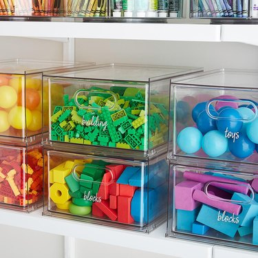 clear drawers with colorful toys
