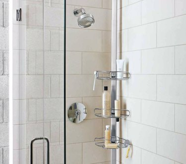 Shower head, shower door, best shower caddies, soaps, shampoos.