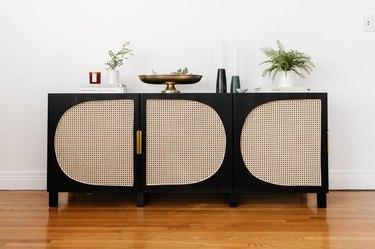 IKEA black Besta unit with cane