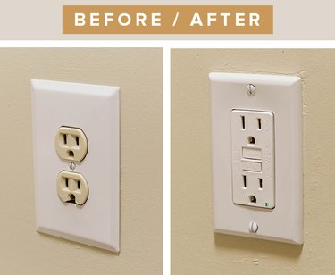 Upgrade your broken socket with a new GFCI white outlet.