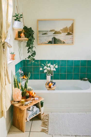 white bathroom with teal shower tile wall detail and hanging plants around the tub