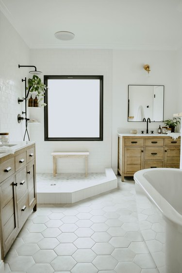 Industrial bathroom with white open shower and black shower fixtures