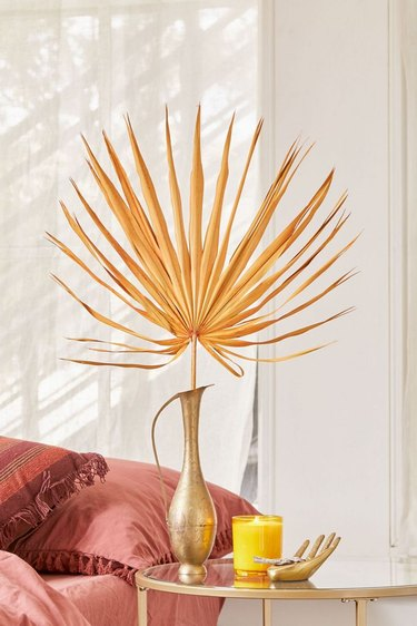urban outfitters dried palm leaf in gold vase
