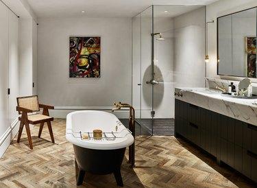 Modern bathroom storage with wall-to-wall storage by NICOLEHOLLIS