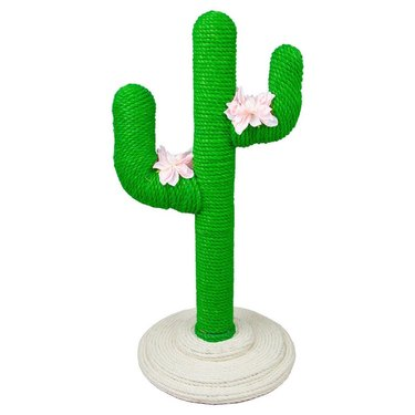 cat scratching post in the shape of a cactus