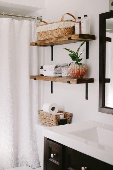 Industrial Bathroom Storage with open wooden industrial shelves