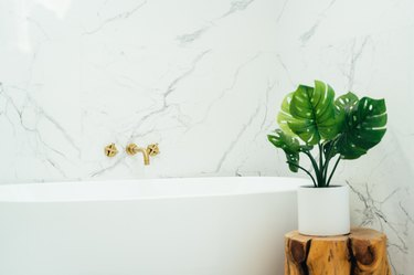 Plant on wood stool next to white bathtub and marble wall
