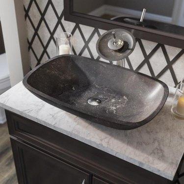 black limestone industrial bathroom sink