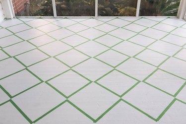 Diamond pattern taped off on floor