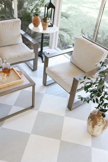 Painted harlequin floor in sunroom