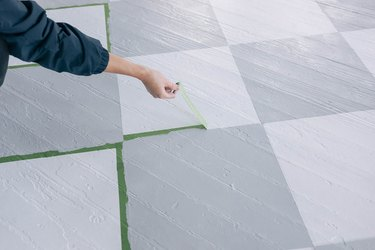 Pulling painter's tape off painted harlequin floors