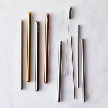 metallic resuable straw set