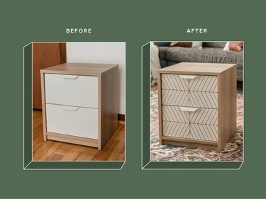 Before and after photo of IKEA nightstand table hack