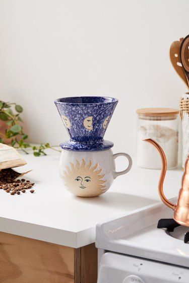 sun and moon pour-over coffee set on counter